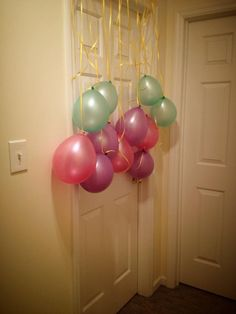 What a fun idea for the birthday girl or boy! Coming out of the room in the morning! Such a great surprise.
