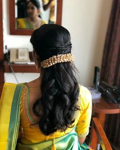Fancy hair jewellery - New Site Bridal Hairstyle Indian Wedding, South Indian Bride Hairstyle, Bridal Hair Buns, Bridal Hairdo, Hairdo Wedding, Braided Hairstyles For Wedding, Braided Updo, French Braid Hairstyles, My Hairstyle