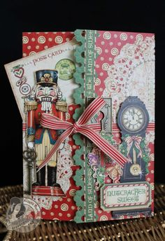 This is a stunning pocket card by @Arlene Russell Butterflykisses using Nutcracker Sweet! She used the Ornate Metal Keyholes to create the card closure - so beautiful! #graphic45 #cards