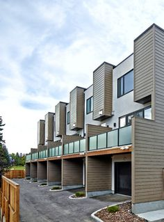 Parcside Townhomes - Modern - Exterior - Calgary - by Inertia Corporation Townhouse Designs, Duplex House Design, Townhouse Exterior, Small Villa, Property Design, Facade Design, Facade House, Modern Architecture, Building A House