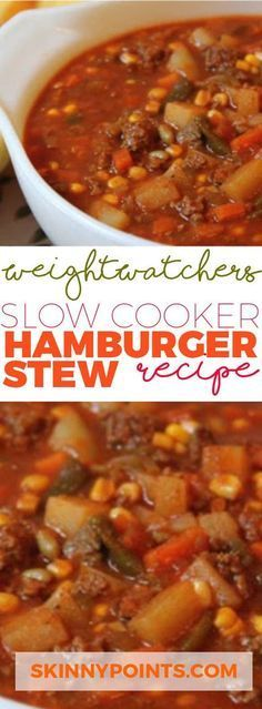 Slow Cooker hamburger stew recipe With Only 3 Weight Watchers Smart Points slow cooker recipes healthy Crock Pot Recipes, Sopa Crock Pot, Ww Recipes, Skinny Recipes, Slow Cooker Recipes, Soup Recipes, Cooking Recipes, Recipies, Hamburger Crockpot Recipes