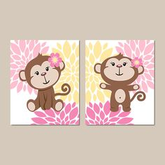 Girl Monkey Wall Art Baby Girl Nursery Decor by LovelyFaceDesigns
