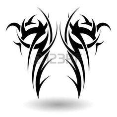 tatouage tribal: Hand Drawn Tatouage tribal dans Ailes Forme