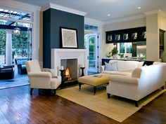 New living room paint colora with accent wall fireplaces Ideas Navy Accent Walls, Accent Walls In Living Room, Paint Colors For Living Room, Living Room With Fireplace, Room Colors, Neutral Walls, Navy Walls, Wall Colors, Paint Colours