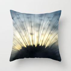 Dandelion & Sun II. Throw Pillow by Martin Misik - $20.00 // #pillow #print #art #society6 #dandelion #sunset #prague #macro #flower #blue #yellow #fluff #seed #flying #calm #quiet #still #relaxation #meditation #evening #globe