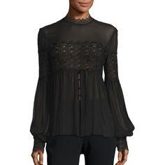 NICHOLAS Women's Silk Georgette Lace Applique Blouse ($395) ❤ liked on Polyvore featuring tops, blouses, black, contemporary sp - workshop, long tops, long sleeve blouse, blouson blouse, lacy tops and button blouse