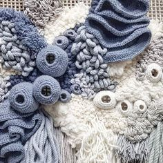 Spending a day working in studio projects 🐚 Weaving Textiles, Weaving Art, Tapestry Weaving, Loom Weaving, Crochet Fabric, Freeform Crochet, Crochet Bouquet, Macrame Wall Hanging Patterns, Blue Tapestry