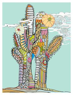 """Archival print of an original illustration: """"Cactus"""" (3 colors available)"""