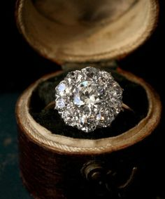 Edwardian Diamond Cluster Ring, European Cut Diamond Center, Total, Platinum and Gold. antique engagement rings at Erie Basin Diamond Cluster Engagement Ring, Antique Engagement Rings, Solitaire Engagement, Solitaire Ring, Flower Shaped Engagement Ring, Huge Engagement Rings, Wedding Engagement, Dimond Ring, Antique Wedding Rings