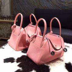 Hermes Lindy 26cm/30cm Taurillon Clemence Calfskin Bag Handstitched Palladium Hardware, Rose Sakura 3Q