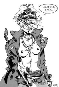 ACHTUNG BABY! Finished Tank Girl commission (I've digitally added halftone, for my own amusement...) This started as profile pic, then I redrew it. I was watching DAS BOOT while drawing it... Now all I need is a U boat! XXX Love'n tanks, Rufus - TEAM SGDM / TANK GIRL