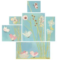 """All a Twitter - Blue Set"" wall art for children by Winborg Sisters for Oopsy daisy, Fine Art for Kids $279"