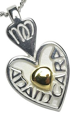 'Mo Anam Cara' Sterling Silver Pendant with Gold Heart. Stunning Irish jewelry from Ireland. Irish Jewelry, Claddagh, Heart Of Gold, Sterling Silver Pendants, Valentine Day Gifts, Gifts For Him, Bridal Jewelry, Celtic, Cufflinks