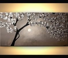 Silver Blooming Tree Painting , Abstract Tree Painting , Textured Silver Tree Art by Osnat - MADE-TO Abstract Tree Painting, Abstract Canvas, Canvas Art, Painted Canvas, Acrylic Canvas, Painting Trees, Hand Painted, Canvas Ideas, Kunst Poster