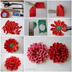 Step By Step Easy Flower Making Tutorial With Red Ribbon