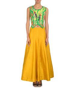 Shamrock green bird embroidered waistcoat with plain mustard yellow skirt