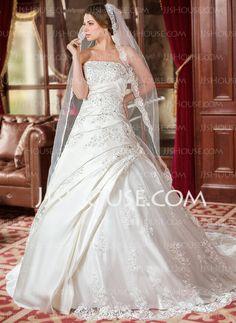 Vestidos de noiva  - De baile Sem alça Cauda capela cetim tule Vestido de noiva com Pregueado laço Bordado Sequins (002000616) http://jjshouse.com/pt/De-Baile-Sem-Alca-Cauda-Capela-Cetim-Tule-Vestido-De-Noiva-Com-Pregueado-Laco-Bordado-Sequins-002000616-g616