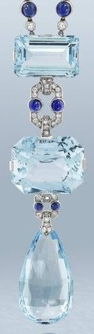 A fine aquamarine, sapphire and diamond sautoir, by Cartier, circa 1920. The vertically aligned pendant set with two step-cut aquamarines, the largest cut-cornered stone to the centre, connected by cabochon sapphire and brilliant and single-cut diamond geometric links, terminating in an aquamarine briolette drop, suspended from a woven cord necklace with four rose-cut diamond finials, unsigned.