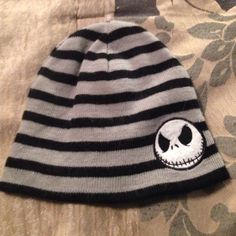 Reversible Jack skellington beanie Super cute jack skellington beanie that is horizontally striped with black and grey. This is based off of the character from the Nightmare Before Christmas by Tim Burton. Hot Topic Accessories Hats