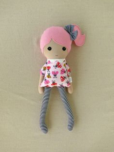 Fabric Doll Rag Doll Pink Haired Girl in Ladybug by rovingovine