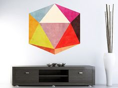 Optical Illusion 3D Stickers - Mid Century Modern Triangles Stickers - Abstract Design