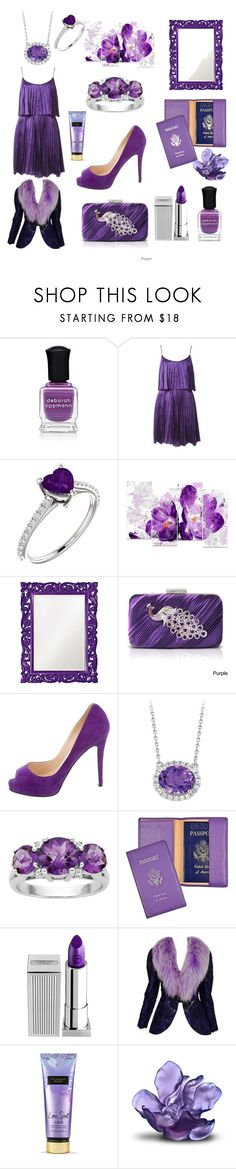 """Fifty Shades of Purple"" by ipekzsuel on Polyvore featuring Deborah Lippmann, Halston Heritage, Design Art, Howard Elliott, Jacki Design, Christian Louboutin, Royce Leather, Lipstick Queen, Adolfo and Victoria's Secret"