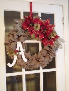 My fourth DIY Xmas burlap wreath I made for my Mom