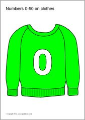 The numbers from 0 to 50 presented on various types of clothes. Great for use on a hanging classroom number line or in a role-play area. Numbers 1 100, Math Numbers, Role Play Areas, Printable Numbers, Free Teaching Resources, Clothes Line, Math Centers, Graphic Sweatshirt, Classroom
