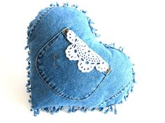Handmade Upcycled Denim Blue Jean Valentine's Day Heart Shaped Pillow with Doily from Vintage Materials Jean Crafts, Denim Crafts, Fabric Crafts, Sewing Crafts, Sewing Projects, Denim Ideas, Recycled Denim, Valentines Day Hearts, Pin Cushions