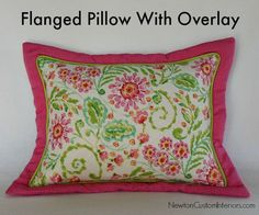 flanged pillow with floral overlay