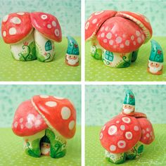 Itty bitty gnome homes! Clay Crafts, Fun Crafts, Crafts For Kids, Arts And Crafts, Woodland Creatures, Magical Creatures, Clay Ornaments, Paperclay, Love Craft