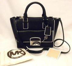 MICHAEL Michael Kors Audrey Medium Convertible Black White Leather Satchel  32% off retail 15ea20ae507f6