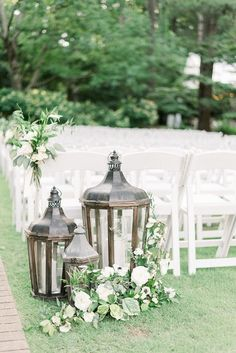 Southern weddings give us warm fuzzies - especially when they happen in botanical gardens! This classy Birmingham celebration has warm summery vibes, overflowing greenery, a soft blue and whi Wedding Ceremony Ideas, Wedding Aisles, Wedding Aisle Outdoor, Garden Wedding Decorations, Wedding Lanterns, Lanterns Decor, Wedding Table Centerpieces, Vintage Lanterns, Centerpiece Ideas