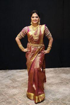 Beautiful Indian TV Actress Rachitha Mahalakshmi in Maroon Silk Saree Beautiful Girl Indian, Most Beautiful Indian Actress, Beautiful Saree, Beautiful Gorgeous, Indian Tv Actress, Indian Actresses, Indian Wedding Fashion, Indian Fashion, Girl Actors