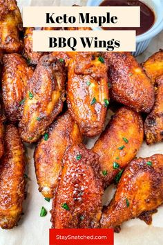 These Keto Low Carb Chicken Wings are breaded and crispy and then drizzled in maple syrup and BBQ. These sticky wings are perfect for dinners, Game Days, or any spread. Low Carb Chicken Wings, Frozen Chicken Wings, Low Carb Chicken Recipes, Air Fryer Dinner Recipes, Delicious Dinner Recipes, Meal Prep Guide, Cookout Food, Homemade Bbq, Quick Easy Meals
