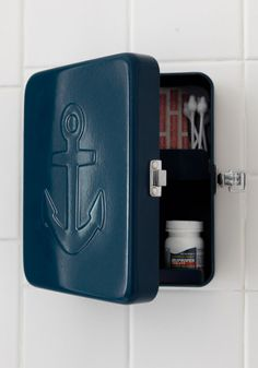 Stowaway We Go Box. Stash small essentials inside this anchor-embossed storage box by Kikkerland! #blue #modcloth