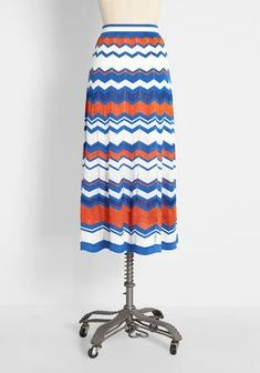 New Arrival Dresses and Clothing for Women | ModCloth Molly Bracken, Mid Length Skirts, New Arrival Dress, Zig Zag Pattern, Cute Skirts, Modcloth, Shades Of Blue, Color Pop, Vintage Inspired