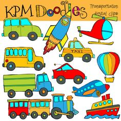 Transportstion Digital Clip art and black line stamps