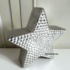 Star Ornament Silver Hammered Ceramic Modern Contemporary Home Decor