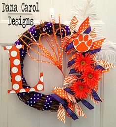 Clemson Tigers Team Spirit Wreath by DanaCarolDesigns on Etsy, $65.00