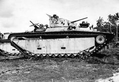 March 3, 1944 - Guadalcanal : Amphibious tank armed with two .50 caliber machine guns and a 37 mm gun.