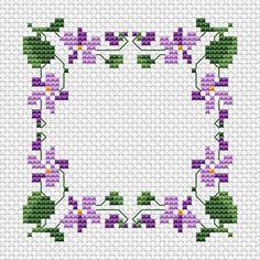 Violetas Border padrão cruzado livre ponto
