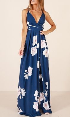 You'll Never Know Blue Floral Sleeveless Spaghetti Strap V Neck X Back Side Slit Casual Maxi Dress Rose Print Dress, Floral Print Maxi Dress, Floral Dresses, Navy Floral Dress, Long Navy Dress, Printed Dresses, Blue Dress Casual, Casual Dresses, Backless Maxi Dresses