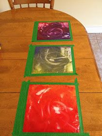 The Hippie Housewife: Mess-free finger painting - preschool station Craft Stick Crafts, Preschool Activities, Kid Crafts, Craft Ideas, Nanny Activities, Preschool Learning, Fun Ideas, Holiday Activities, Toddler Activities