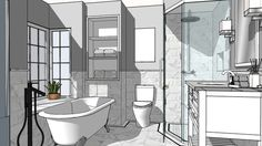 Gary bathroom white stone - 3D Warehouse