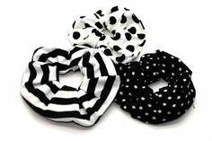 Black and White Fabric Scrunchie -Tegen Accessories-Tegen Accessories