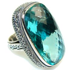 $76.85 Fantastic Blue Quartz Sterling Silver Ring s. 8 at www.SilverRushStyle.com #ring #handmade #jewelry #silver #quartz