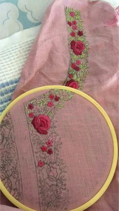 Discover thousands of images about Embroidery Zardozi Embroidery, Hand Embroidery Dress, Embroidery Suits Design, Embroidery Works, Flower Embroidery Designs, Creative Embroidery, Hand Embroidery Stitches, Embroidery Fashion, Embroidery Techniques