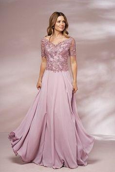 b5f0b3e6b07 J205014 Long Portrait Neckline Lace   Jade Chiffon MOB Dress with Sleeves