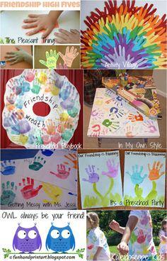 Friendship Week Handprint Crafts #friendshipday #handprintart